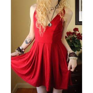 LIKE NEW Coco Love ASOS Red V Neck Tank Sun Dress